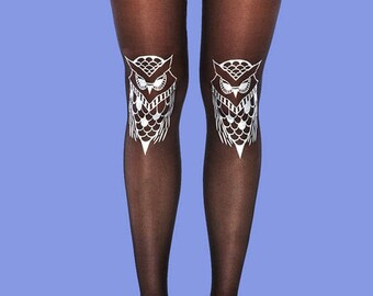 Silver tights, Owls, sheer black tights, gift ideas, gift for her, holiday gift, women tights, available in S-M, L-XL