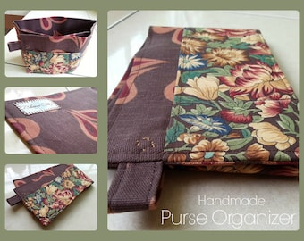 24 inch / 7 pockets Purse / Bag Organizer Insert - (Medium) Brown Peacock with forest of flowers Pockets