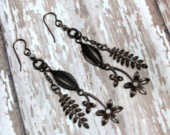 Brass Ox Fall Leaf Earrings, Autumn Leaf Earrings. Vintaj Brass Leaf Earrings, Holiday Earrings,Metal Leaf Earrings, Leaf Jewelry