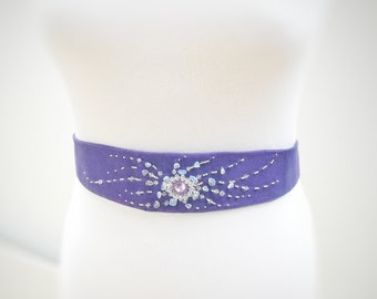 Purple Embroidery Crystal Bridal Sash Wedding Sash in Dusty Lilac with Moonstone Crystals Beaded Embroidery Bridal Belt Wedding Dress Sash