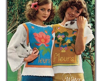 1975 Two Crocheted Flower Sweaters Pattern 12 pages DIGITAL Instant Download PDF
