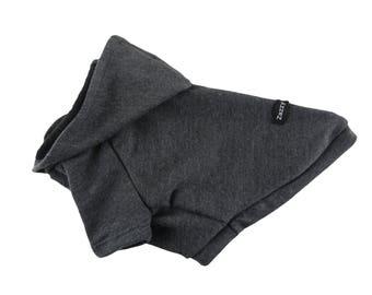 Dark Grey Raglan Sleeves French Terry Dog  Hoodie, Dog Apparel
