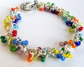 Handmade Rainbow Colored Chain and Seed Bead Bracelet; Chain Mail Style Bracelet with Mixed Color Seed Beads and a Toggle Clasp