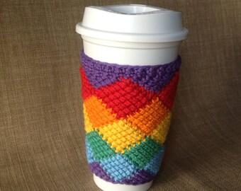 Crocheted Rainbow Cup Sleeve