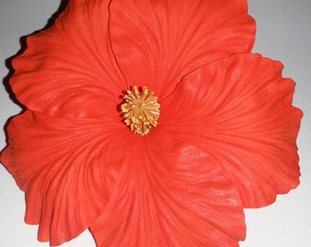 Hibiscus, Orange, Orange Hibsicus, Flower, Flower clip, Tangerine Flower, pin up, Burlesque, Tropical flower, Wedding, READY TO SHIP