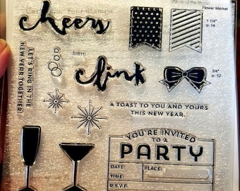 """Close To My Heart """"New Year's Cheer"""" S1611 - Retired Stamp Of The Month - 13 Stamps Set - My Acrylix Party Stamp Set - *NEW*"""