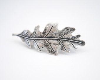 Silver Leaf Barrette, oak leaf hair clip, small barrette
