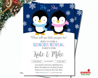 Winter Gender Reveal Invitation, Penguin Gender Reveal Invitation, Snowflake Gender Reveal Invitation, Winter Co-ed Baby Shower, C52