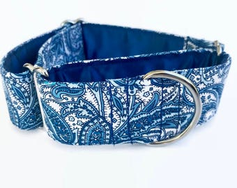 Tranquil Blue Paisley Martingale Dog Collar // Dog Lover Gift // Dog Accessories // Greyhound Collar // Sighthound Collar