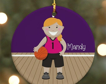 Personalized Basketball Ornament (Female version) - Personalized with Name
