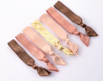 Warm Color Boho Hair Ties Perfect Accessories For Light Hair Soft Creaseless Hair Bands Everyday FOE Hair Ties No Crease Ponytail Holder 002