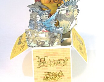 Vintage Wizard of Oz Card, Pop Up Card, Wizard Of Oz Party, Oz Birthday Party Invitation, Dorothy, Tin Man, Scarecrow, Cowardly Lion, Toto