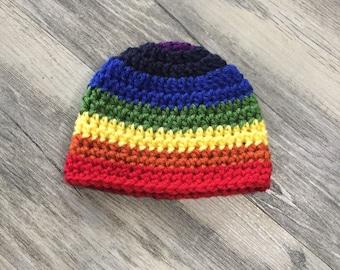 Newborn Boy Rainbow Baby Beanie - Ready to Ship