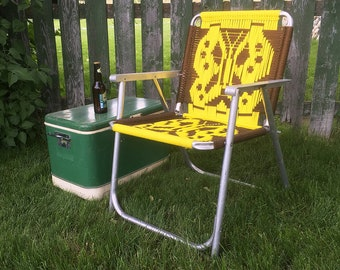 Vintage Macramé Lawn Chair with Yellow & Brown Butterfly Design - Retro Patio Chair