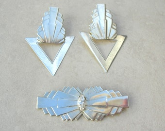 Boutique Artisan Art Deco Sterling Silver Pin & Earrings, beautiful CZ (cubic zirconia) stone, great price