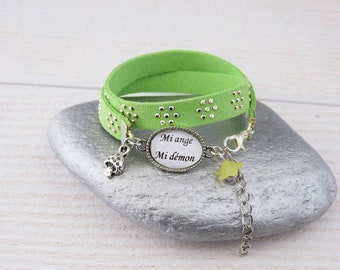 "Fancy bracelet""half Angel half demon""suede with Apple green rhinestone Bracelet"