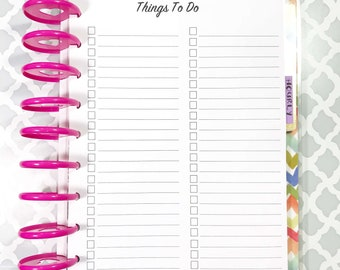 To Do, Checklist, Tasks Inserts for Medium, Classic Happy Planner, Discbound Planner