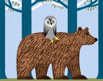 The Owl and The Bear -  Animal Art - owls / bears - Children's Art Poster Print by Oliver Lake - iOTA iLLUSTRATION