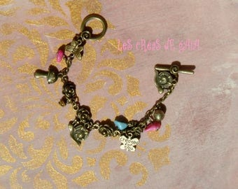 Bronze snail/Butterfly bracelet, beads and metal choice • jewelry charm, nature spirit
