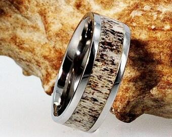 Deer Antler Ring, Titanium Wedding Band, Hunters Wedding Band With Ring Armor