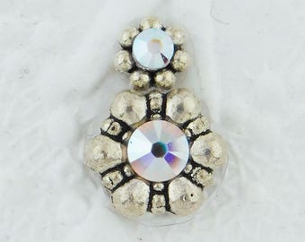Double Daisy Bindi-Rainbow Crystal-Antiqued Silver-Swarovski Crystal-Belly Dance-Stage-India-Bollywood-Burlesque-Costume-