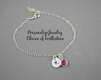 Birthstone with Initial Bracelet, Personalized Bracelet with Birthstone Charm Swarovski Crystals Sterling silver Dainty Bracelet Adjustable