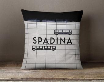 Toronto Subway Sign Pillow - Spadina Station with Streetcars - Black and White Home Decor, TTC Subway Art - 16x16 or 20x20 Throw Pillow