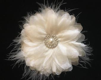Ivory Flower Hair Clip, Bridal Hair Clip, Organza Flower Clip, Flower Girl Hair Clip, Baptism Headband
