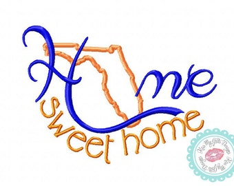 Florida Home Sweet Home Machine Embroidery Applique Design