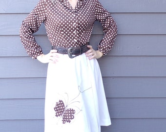 cute 70's WRAP DRESS with BUTTERFLY appliqué polka dots M L (A8)