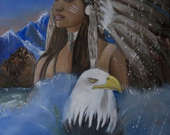 """woman oil portrait """"A wind of liberty"""" - Oil on canvas"""