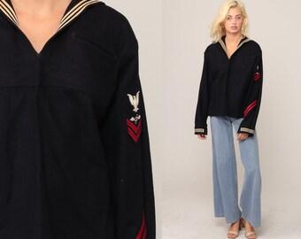 Vintage Sailor Shirt US Navy Uniform Shirt WOOL Nautical 80s Shirt Sailor Collar Long Sleeve Top Military Shirt Army 1980s Medium