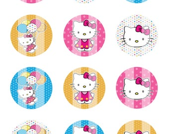 Hello Kitty Birthday 1 inch Circles 4x6 Digital Collage Sheet