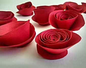 Red Paper Flowers, Red Roses, Red Table Decor
