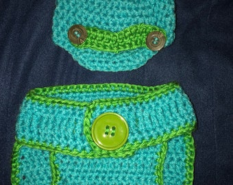 Newsboy baby boy diaper cover and hat set