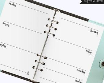 Filofax Inserts / Weekly Planner Blanko / Filofax Calender / Weekly Planner / Filofax A5 / Inserts / Printable / INSTANT DOWNLOAD