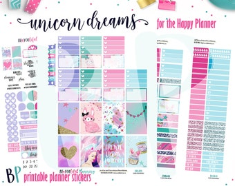 Unicorn Dreams | Weekly Printable Planner Kit | Planner Stickers | Cut Line Files | for use with Happy Planner | Planner Stickers Printables