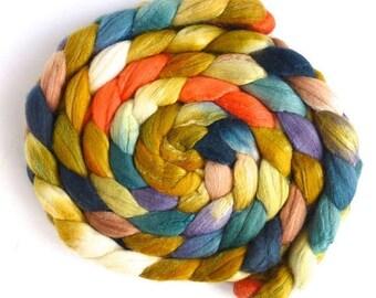 Resilience, Merino/ Silk Roving - Handpainted Spinning or Felting Fiber