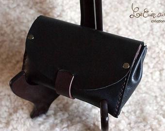 Tobacco leather black / plum