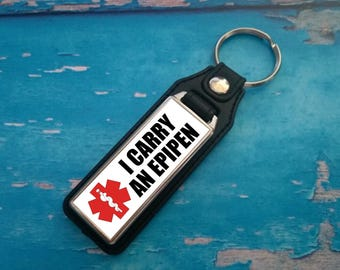 Silver Plated Keyring - Key Ring - Key Chain - I carry an EpiPen Inside key fob - Awareness