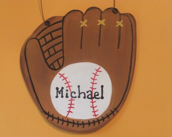 Boy's Baseball Glove Wall Hanging - Personalized