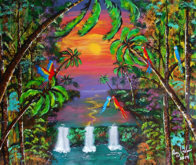 Parrot Jungle 20 x 24 Jungle wall decor