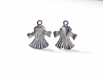 Fur coat antique Tibetan silver charm, 10 pieces