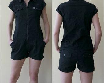 Vintage Black Jumpsuit, Summer Romper, Shorts Jumpsuit, Black Romper, Short Sleeves Jumpsuit