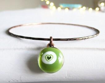 Glass Bangle, Stackable Bangle, Bangle, Glass Charm Bangle, Bracelet, Stacking Bracelet, Bohemian Bangle, Fused Glass Jewellery