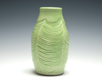 Green Bud Vase, Handmade Pottery, Wave and Dot Design, Home Decor, Small Ceramic Vase