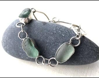Sterling silver Bracelet Sea glass genuine Seafoam sea glass handmade woman silver. 925 Seaham Seaglass