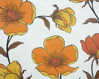 Retro Wallpaper by the Yard 70s Vintage Wallpaper - 1970s Large Orange Gold and Brown Floral on White