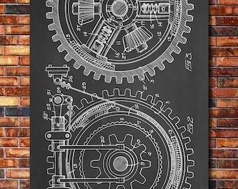 Gears Patent Print Art 1912