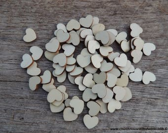 """100 BLANK 1/2"""" Wood Hearts, Wood Confetti Engraved Love Hearts- Rustic Wedding Decor- Table Decorations- Small Wooden Hearts"""